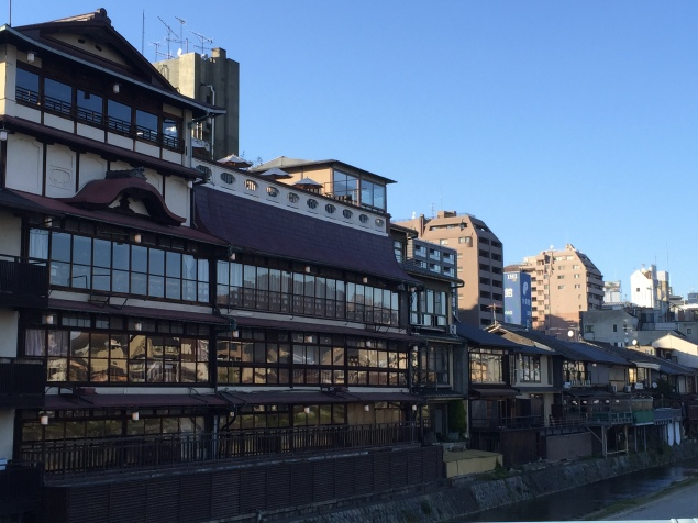 Traditional Japanese restaurants lining the banks of the Kamogawa in Kyoto in Japan