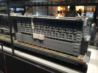A Lego replica of Kyoto Station, within Kyoto Station, in a glass case.