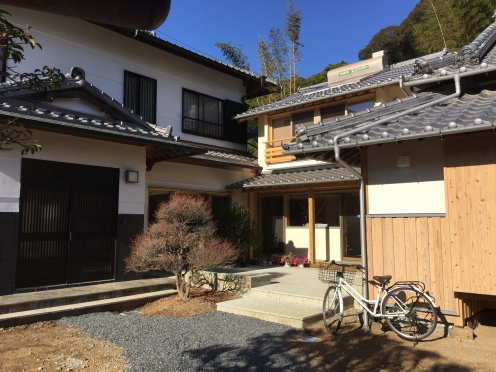 beautiful traditional Japanese house with tiled roof