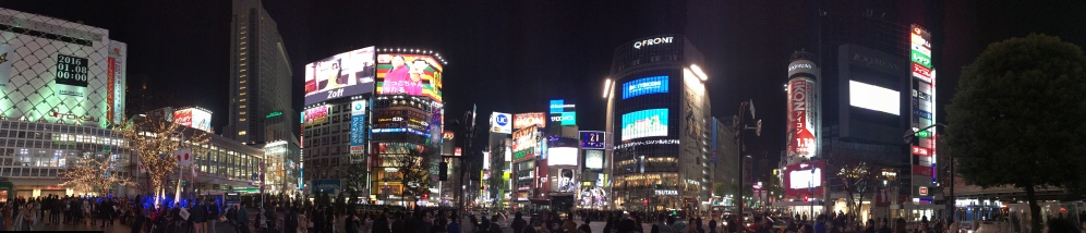 a panaromic night time shot of Shibuya crossing area tokyo