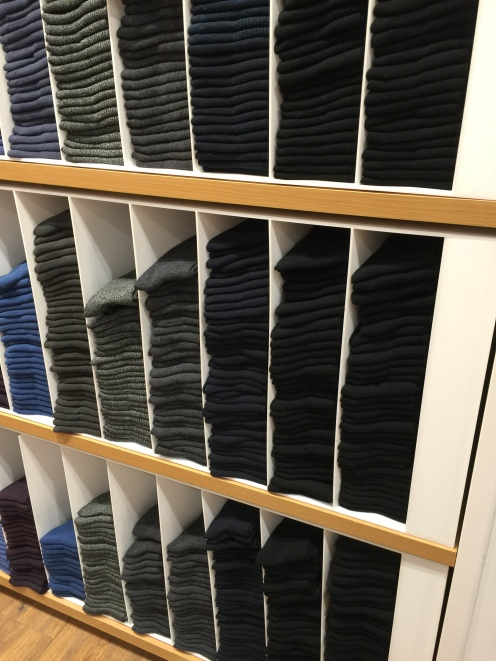 Uniqlo Japanese mens socks display