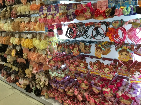 very colourful and cute Japanese hair accessories on display at Daiso in Chadstone