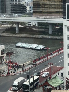The Hotaluna, a boat designed by a manga artist, in the Sumidagawa, in Asakusa, in Tokyo.