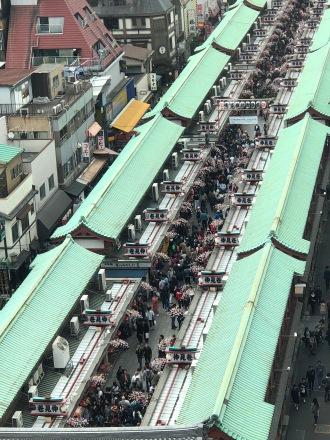 The street market place outside Senso-Ji in Asakusa in Tokyo