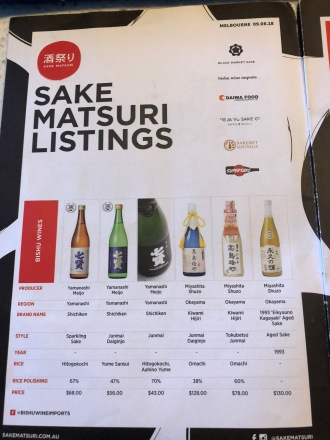 Sake Matsuri Listings, first page of booklet from Sake Matsuri Melbourne.