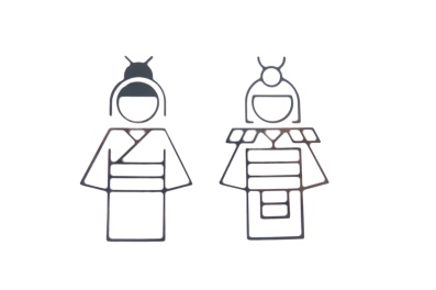 Very cute toilet signs, Japanese style simple line drawings of a boy and a girl in kimono
