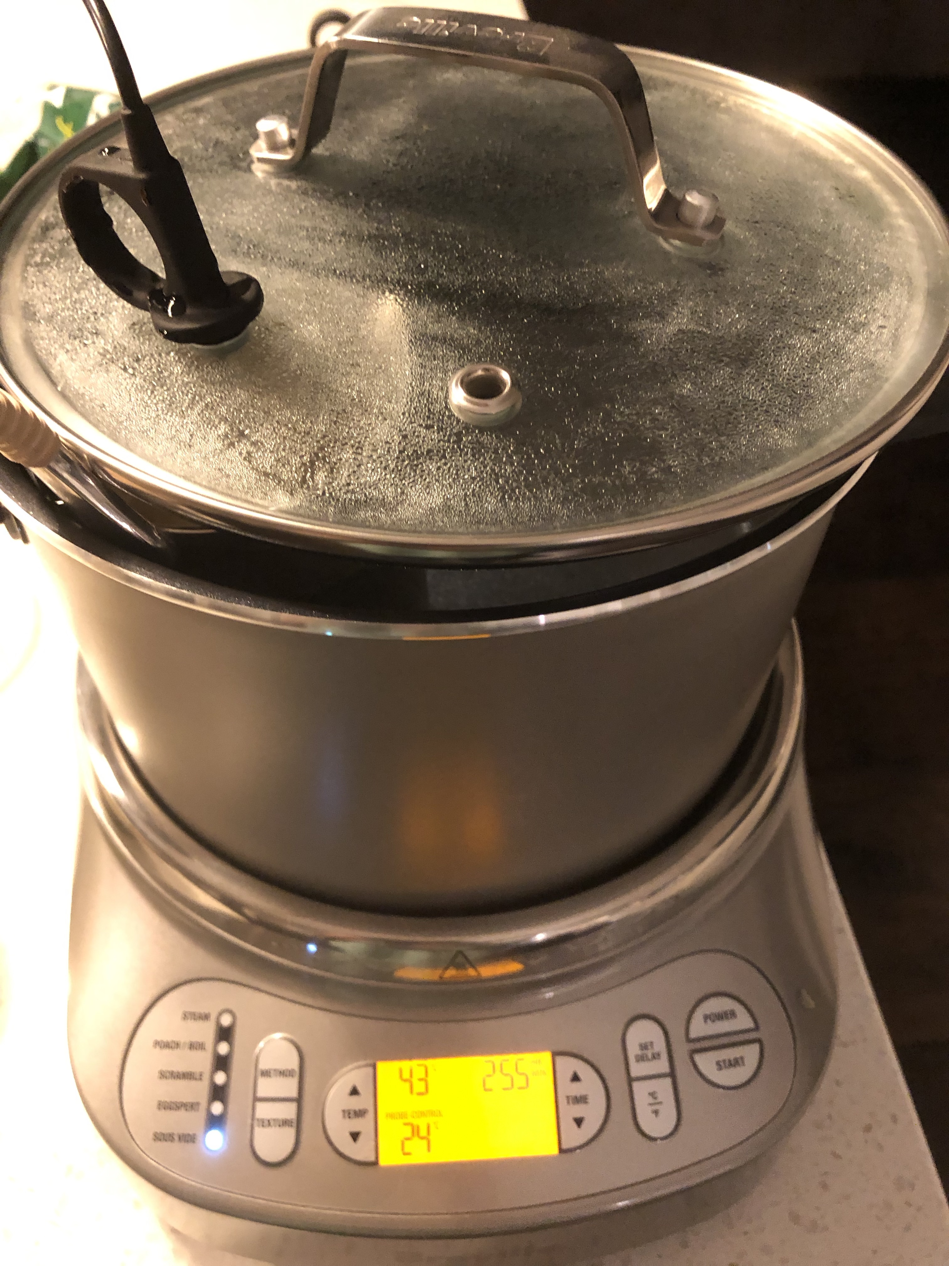 A tanpo sake heating vessel in a sous-vide with the probe in the sake and the temperature programmed for 43 degrees for 300 minutes