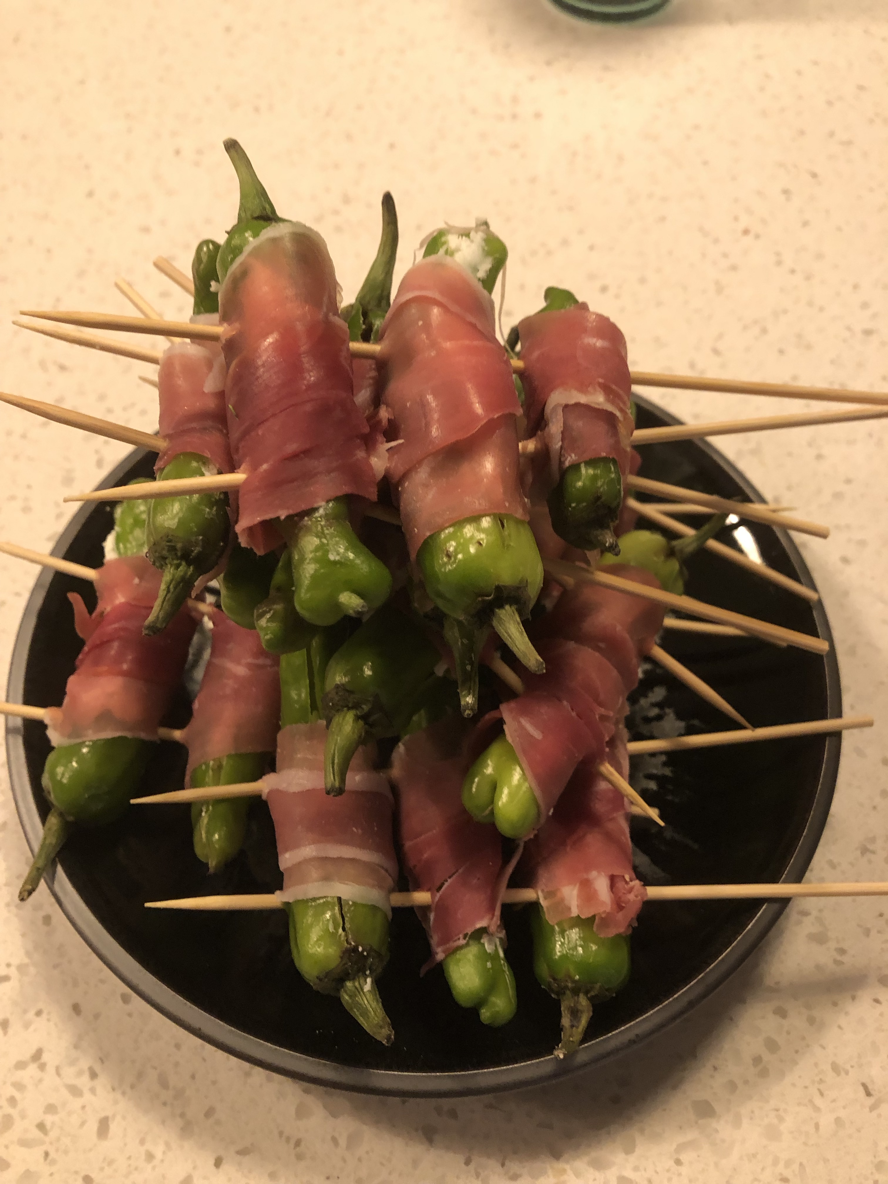 Japanese shishito peppers prepped for cooking